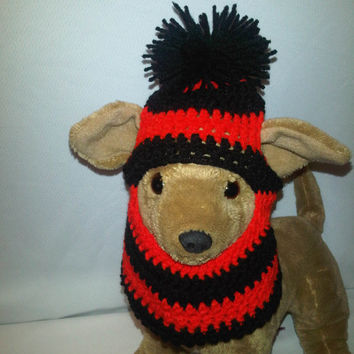 Stripey red black dog snood dog hat- teacup to small size dogs chihuahua