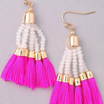 Flaunt it Hot Pink Tassel Earrings