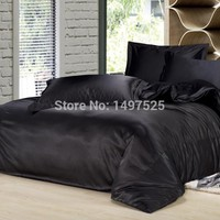 New Style Silk Bedding Sets  Reactive Printing Twin Full Queen King Size 4Pcs of Mattress Cover Duvet Cover Bed Sheet Pillowcase