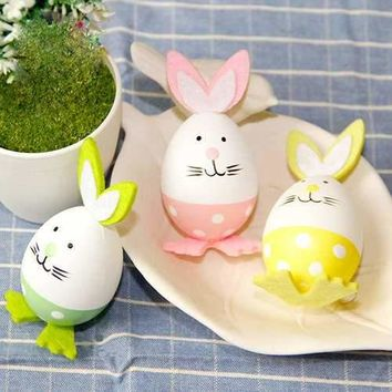Honana HC-002 3pcs/set Plastic Easter Eggs Rabbit Easter Decoration Toys Arts Crafts Easter Bunny eggs Decor Gifts Toys Home Party Event Ornament