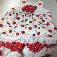 Baby Girl Clothes -  Ladybug Outfit- Sun Top and Pantaloons - Baby Summer Wear