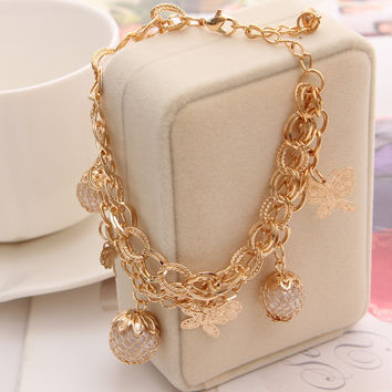 Fashion Gold Plated Bracelets For Women Simulated Pearl Jewelry Charm butterfly Pendant Bracelets Bangles Luxury Jewlery