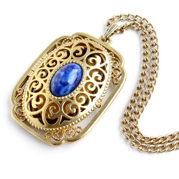 Vintage Avon Locket Necklace - Yesteryear Picture Locket Gold Tone Pendant Costume Jewelry / Victorian Revival Blue Cab