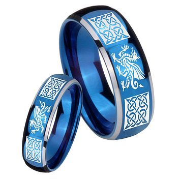 His Her Glossy Blue Dome Multiple Dragon Celtic Two Tone Tungsten Wedding Rings Set