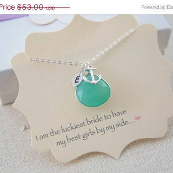 10% OFF personalized chalcedony chrysoprase green necklace with anchor and small leaf, wedding, bridesmaid, gift