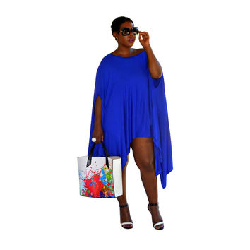 Blue Batwing Sleeve Asymmetrical Dress Top