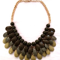 Olive Beaded Statement Necklace