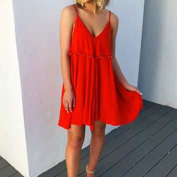 Ease Your Mind Dress: Tomato