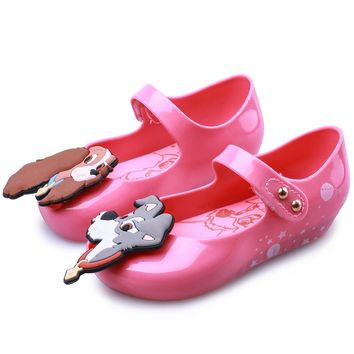 Mini Melissa 2018 New Summer Beach Shoes Twins Dog New Print Star Moon Lady Tramp Sandals Jelly Fish Mouth Girl Kids Sandal