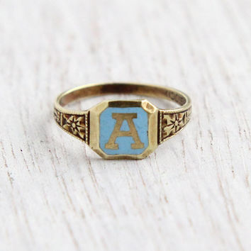 Vintage 14K Yellow Gold Letter A Ring - Art Deco Midi, Pinky Size 1 Blue Enamel Kiddie Kraft Initial Fine Jewelry / Baby Blue Monogram