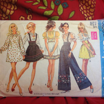 Boho Mini-Dress or Blouse and Mini-Skirt and Pants Pattern Simplicity 8208 Cut- Vintage 1960's