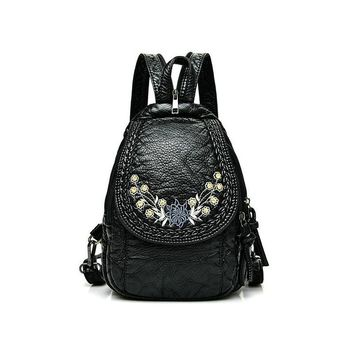 Women's preppy style cat flower little girl printing backpack knitted long strap cute backpacks pockets chest pack school bags