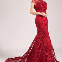 Mandarin Collar Bridal Lace Crimson Gown Evening Banquet Cheongsam