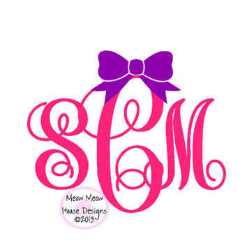 Monogram with Bow Decal for Car, Laptop, Tablet - 3 in x 2.5 in Custom Sticker - Sorority Gift Mom Friend Sister Hostess Teacher