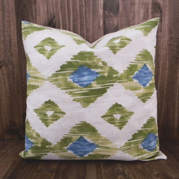 Kiwi and Teal Diamond Ikat 16 x 16 Pillow Cover, houswarming gift, cushion cover, spring room decor, kids bedroom