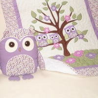 Organic Owl Quilt, Baby Girl Crib Bedding, Owl Pillow