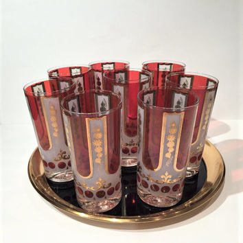 Red and Gold Cera Tumblers, Set of 8 Hollywood Regency Gold Iced Tea Glasses, Hiball Glasses Retro Barware, Gold and Ruby Highball Glasses