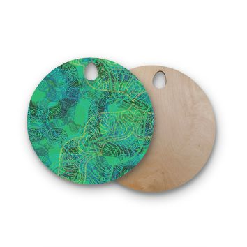 "Patternmuse ""Mandala Mint"" Green Abstract Round Wooden Cutting Board"
