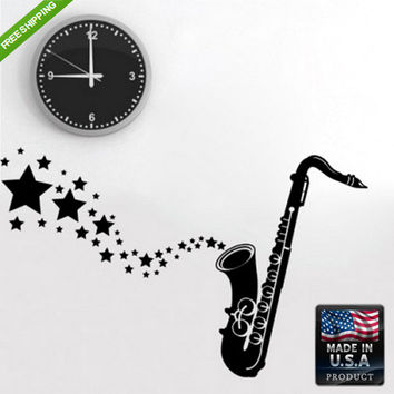 rvz156 Wall Decal Sticker Sax Saxophone Stars Grunge Flowers Audio