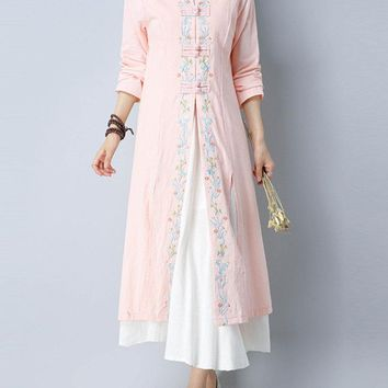 Vintage Women Embroidered Long Sleeve Stand Collar Cotton Cardigans