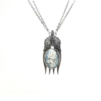 Chelsea Silver Fork Cameo Pendant Necklace