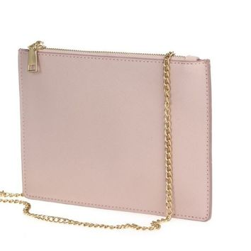 Mauve Saffiano Zip Top Clutch With Strap