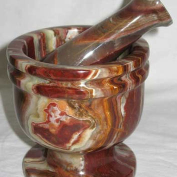 Polished Onyx Mortar and Pestle Set ~ Great for Herb grinding, incense and many more