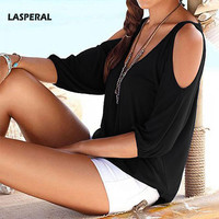 Summer 2016 Women Lady Blouses V Neck Long Sleeve Off Shoulder Shirts Top Sexy Solid Casual Shirts Tops 1PC