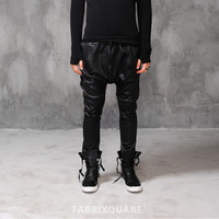 Drop Crotch Slim Stretch Leather Pants