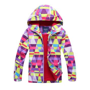 Kids Fleece Cardigan Hooded Jacket Bright Printing Teenage School Uniform Trench Clothes Girls Spring Autumn Coat For 3-12Years