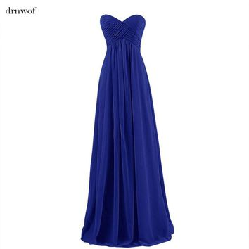 drnwof New Sweetheart Empire Elegant Long Bridesmaid Dresses Sleeveless Lace up Color Dark Red Royal Blue Yellow White Purple