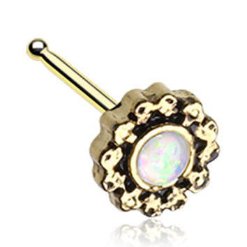 Golden Color Filigree Opalescent Sparkle Nose Stud Ring - 20 G - Sold as a Pair