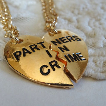 1- Partners in Crime Necklace Best Friends Connect Pull Apart Half Two Necklaces Maid of Honor Gifts Under Twenty Dollars Finished Necklace