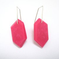 Magenta Earrings, Hot Pink Earrings, Modern Geometric Earrings, Geometric Pink, Sterling Silver Jewelry, Colorful Earrings, Colorful Jewelry
