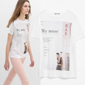 Women's Fashion Fashion Stylish Diamonds Print Short Sleeve T-shirts [6047507009]