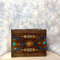 Amazing oriental handmade photo album with embossed brass,inlaid glass and stones