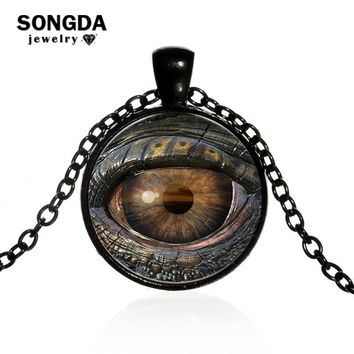 SONGDA Cool Dragon Evil Eye Necklace Monster Satan Devil's Eye Photo Glass Cabochon Gothic Necklaces Pendants Women Men Jewelry