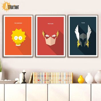 Simpsons The Flash Thor Cyclops Nordic Poster And Prints Wall Art Canvas Painting Wall Pictures For Kids Baby Boy Room Decor