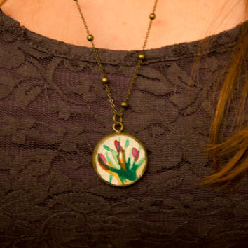 Statement necklace with one of a kind hand painted artwork