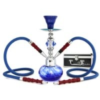 "GSTAR Premium Series: 11"" 2 Hose Hookah Complete Set w/ Carry Case (Optional) - Swirl Glass Vase (Living Green w/ Case)"