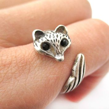 Adorable Fox Wolf Shaped Animal Wrap Around Ring in Silver | US Size 5 and 6