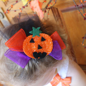"FALL SALE Halloween pumpkin applique hair clip,organza and tulle ribbon 4"" bow with alligator clip"
