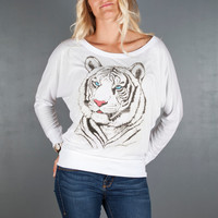 Women's Tiger Shirt- Women's Tiger Face Long Sleeve Off the Shoulder Top- Animal Tshirts by Feather 4 Arrow
