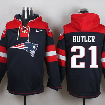 New England Patriots #21 Malcolm Butler Navy Blue Pullover Hoodie