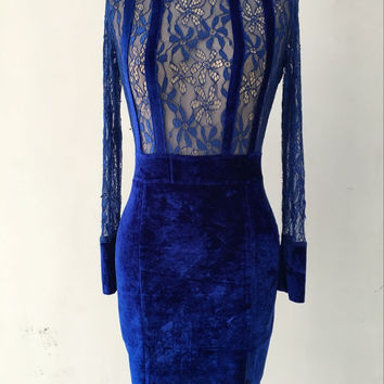 Blue Sheer Lace Sleeve Paneled Velvet Dress
