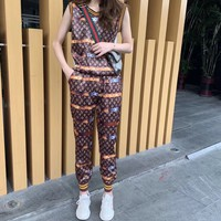 """LOUIS VUITTON"" Woman's Leisure  Fashion Letter Personality Printing Short Sleeve Vest Trousers Two-Piece Set Casual Wear"