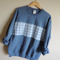 New Blue Plaid Flannel Stripe Crewneck Sweatshirt // Sizes SMALL - 2XL