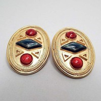 Large Vintage Clip on Earrings, Gold Tone Oval, Retro 1980s 80s, Geometric Jewelry, Multi Color Red and Green
