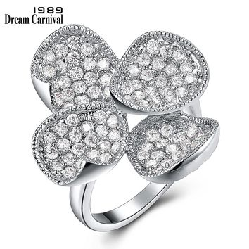 DreamCarnival 1989 Four Petals Lucky Leaf Clover CZ Ring Anniversary Jewelry Discount Anillos Mujer Bagues Wedding Rings YR6168