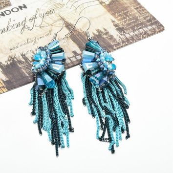 Blue Crystal Tassel Drop Earrings Bohemian Statement Long Earring Brincos